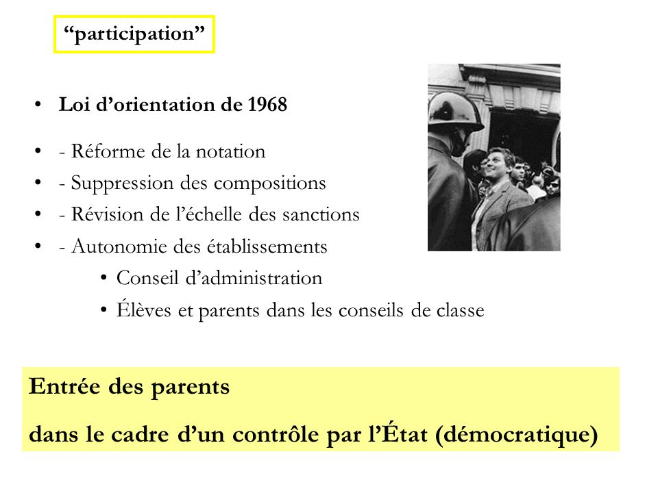 Loi d'orientation de 1968 - Réforme de la notation - Suppression des compositions - Révision de l'échelle des sanctions - Autonomie des établissements Conseil d'administration Élèves et parents dans les conseils de classe Entrée des parents dans le cadre d'un contrôle par l'État (démocratique)  participation