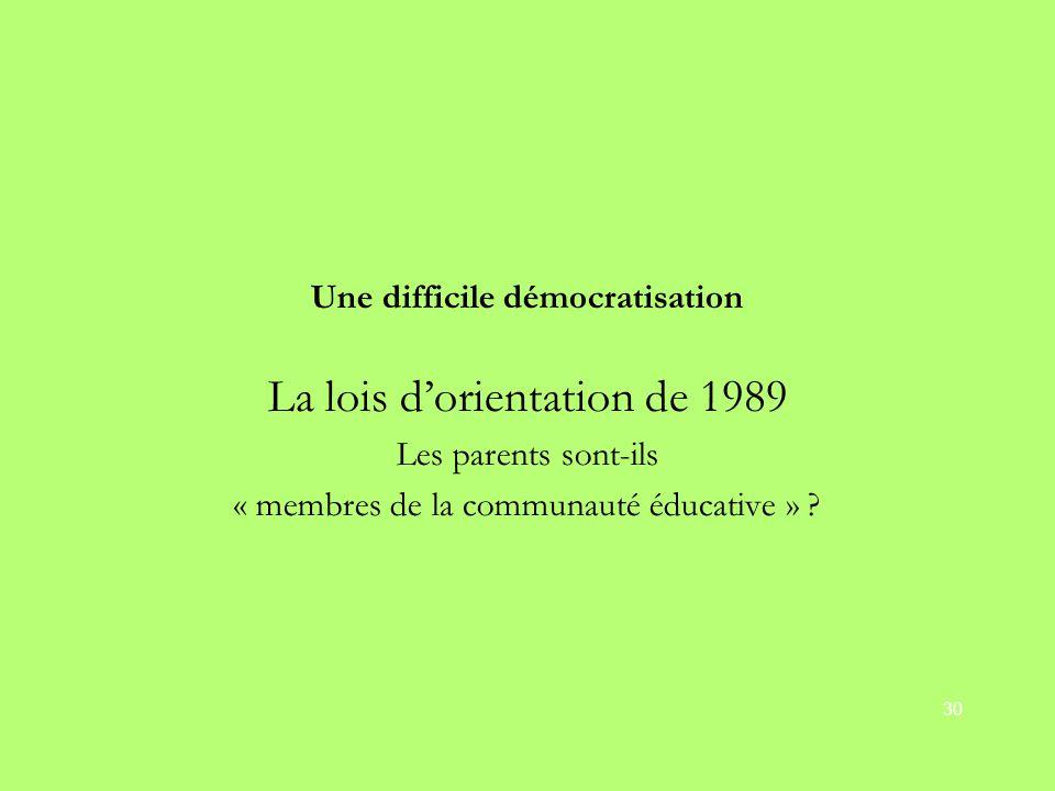 Une difficile démocratisation La lois d'orientation de 1989 Les parents sont-ils « membres de la communauté éducative » ? 30
