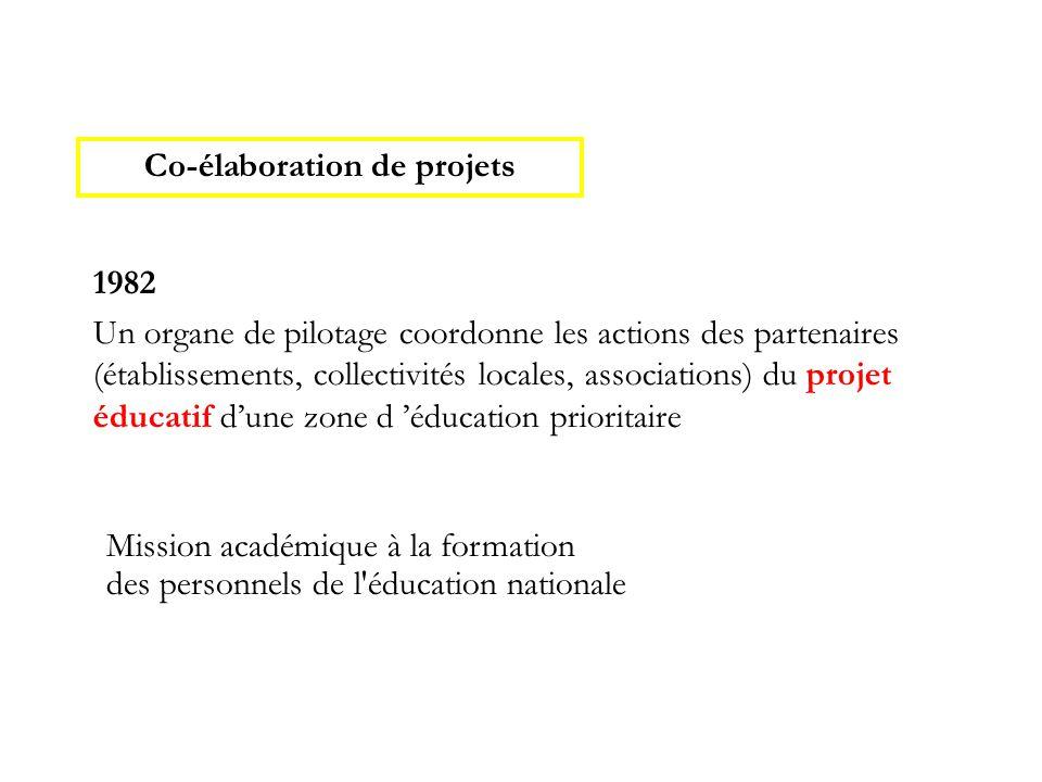 1982 Un organe de pilotage coordonne les actions des partenaires (établissements, collectivités locales, associations) du projet éducatif d'une zone d 'éducation prioritaire Co-élaboration de projets Mission académique à la formation des personnels de l éducation nationale
