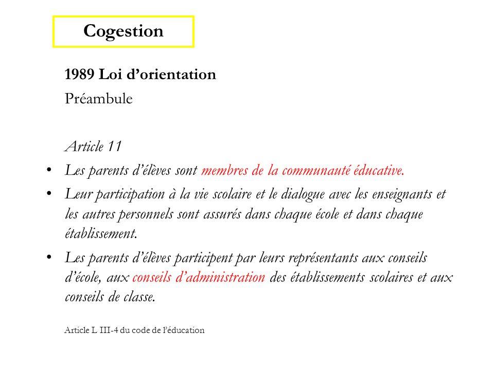 1989 Loi d'orientation Préambule Article 11 Les parents d'élèves sont membres de la communauté éducative. Leur participation à la vie scolaire et le d