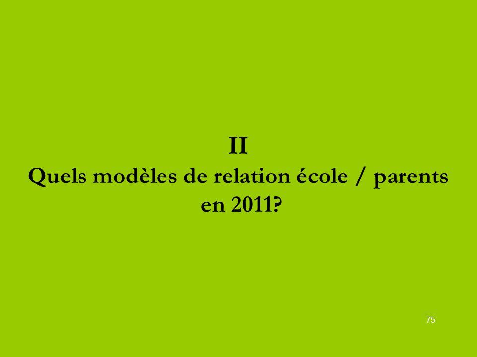 II Quels modèles de relation école / parents en 2011? 75