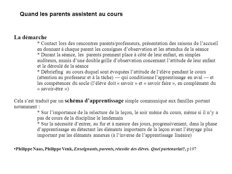 Quand les parents assistent au cours La démarche * Contact lors des rencontres parents/professeurs, présentation des raisons de l'accueil en donnant à
