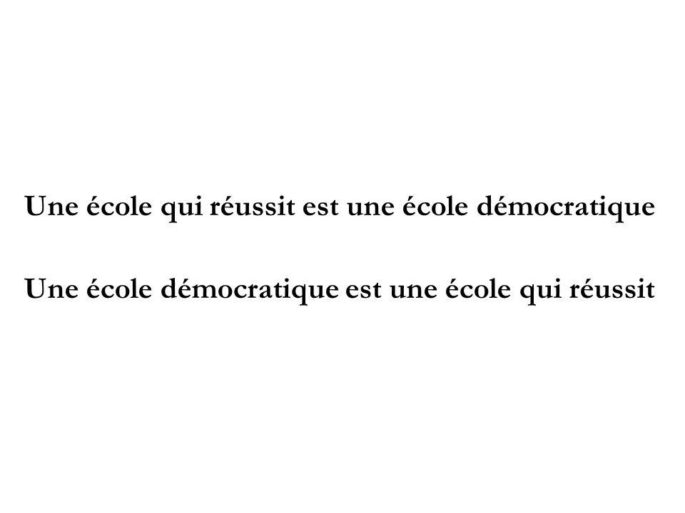 Une école qui réussit est une école démocratique Une école démocratique est une école qui réussit