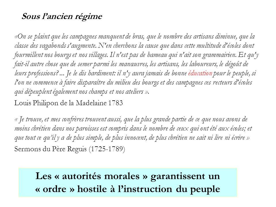Les « autorités morales » garantissent un « ordre » hostile à l'instruction du peuple Sous l'ancien régime «On se plaint que les campagnes manquent de