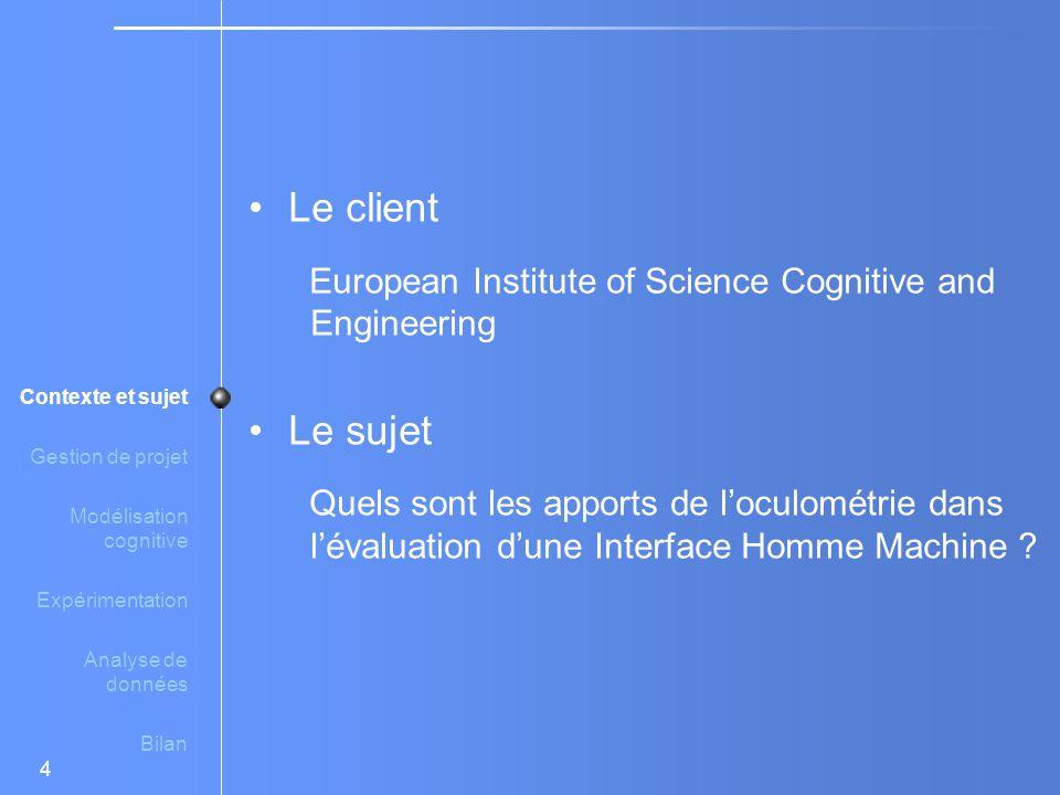 4 Le client European Institute of Science Cognitive and Engineering Le sujet Quels sont les apports de l'oculométrie dans l'évaluation d'une Interface Homme Machine .