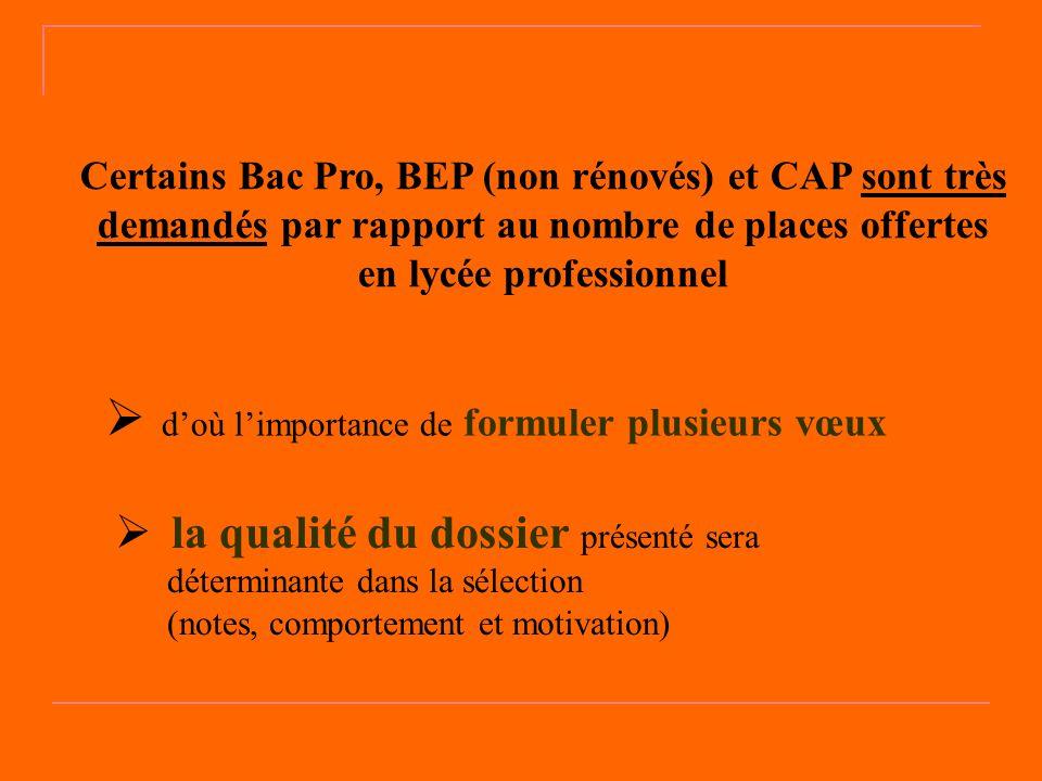Certains Bac Pro, BEP (non rénovés) et CAP sont très demandés par rapport au nombre de places offertes en lycée professionnel  d'où l'importance de f