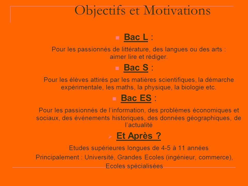 Objectifs et Motivations Bac L : Pour les passionnés de littérature, des langues ou des arts : aimer lire et rédiger. Bac S : Pour les élèves attirés
