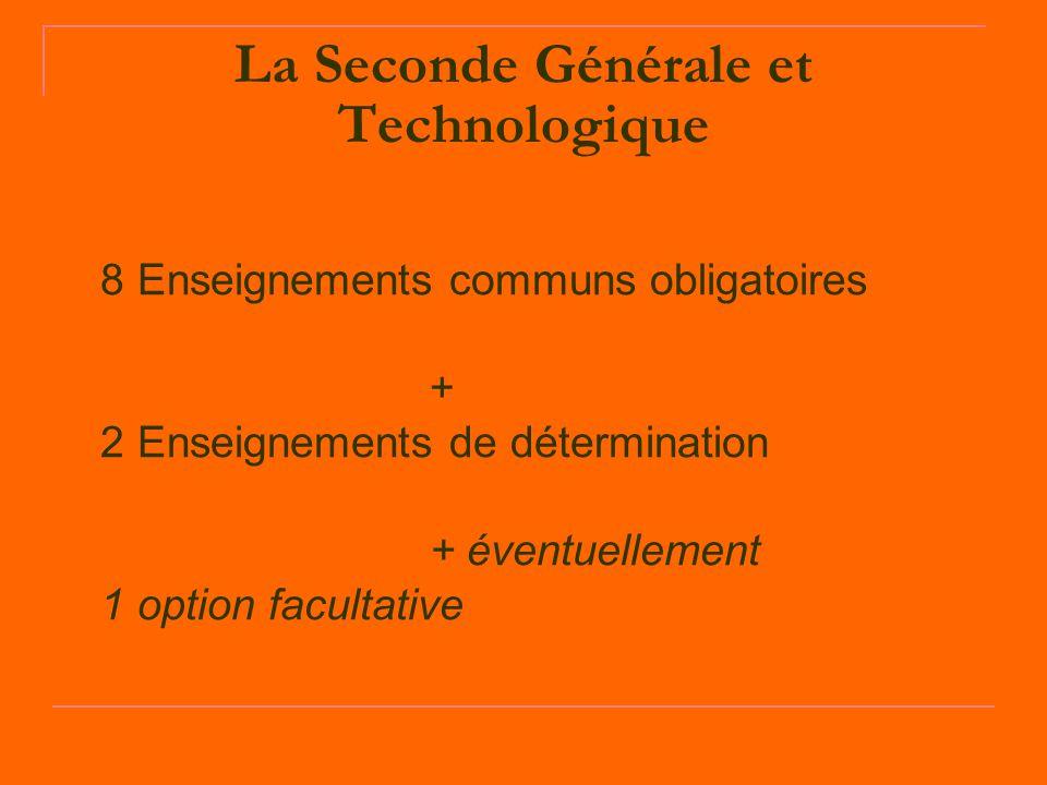 La Seconde Générale et Technologique 8 Enseignements communs obligatoires + 2 Enseignements de détermination + éventuellement 1 option facultative