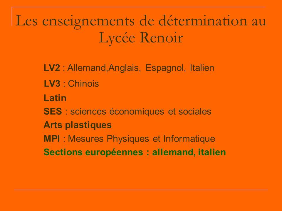 Les enseignements de détermination au Lycée Renoir LV2 : Allemand,Anglais, Espagnol, Italien LV3 : Chinois Latin SES : sciences économiques et sociale