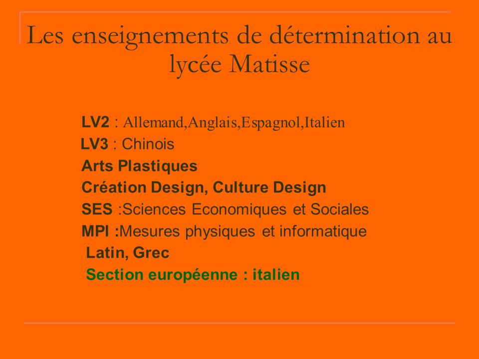 Les enseignements de détermination au lycée Matisse LV2 : Allemand,Anglais,Espagnol,Italien LV3 : Chinois Arts Plastiques Création Design, Culture Des