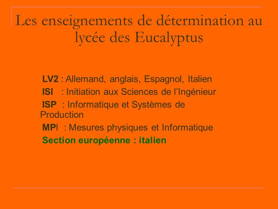 Les enseignements de détermination au lycée des Eucalyptus LV2 : Allemand, anglais, Espagnol, Italien ISI : Initiation aux Sciences de l'Ingénieur ISP : Informatique et Systèmes de Production MPI : Mesures physiques et Informatique Section européenne : italien