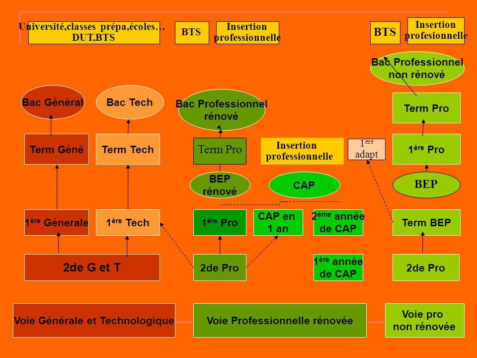 Voie Générale et TechnologiqueVoie Professionnelle rénovée Voie pro non rénovée 2de G et T 1 ère Génerale1 ère Tech Term GénéTerm Tech 2de Pro 1 ère P