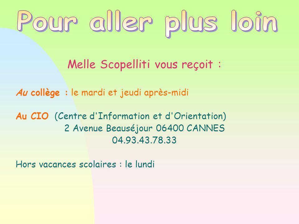 Melle Scopelliti vous reçoit : Au collège : le mardi et jeudi après-midi Au CIO (Centre d Information et d Orientation)  2 Avenue Beauséjour 06400 CANNES 04.93.43.78.33 Hors vacances scolaires : le lundi