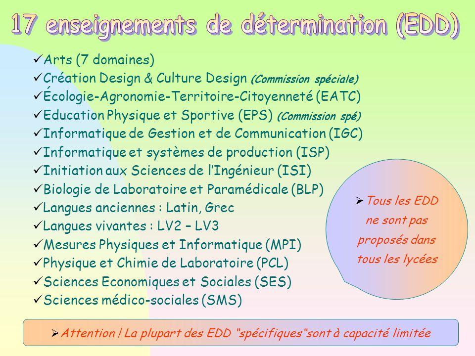 Arts (7 domaines)  Création Design & Culture Design (Commission spéciale)  Écologie-Agronomie-Territoire-Citoyenneté (EATC)  Education Physique et Sportive (EPS)  (Commission spé)  Informatique de Gestion et de Communication (IGC)  Informatique et systèmes de production (ISP)  Initiation aux Sciences de l'Ingénieur (ISI)  Biologie de Laboratoire et Paramédicale (BLP)  Langues anciennes : Latin, Grec Langues vivantes : LV2 – LV3 Mesures Physiques et Informatique (MPI)  Physique et Chimie de Laboratoire (PCL)  Sciences Economiques et Sociales (SES)  Sciences médico-sociales (SMS)   Tous les EDD ne sont pas proposés dans tous les lycées  Attention .