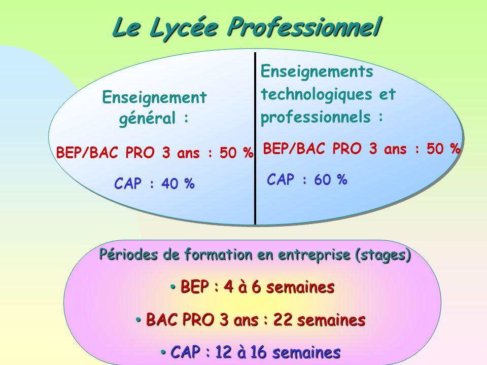 Le Lycée Professionnel Périodes de formation en entreprise (stages) Périodes de formation en entreprise (stages) BEP : 4 à 6 semaines BEP : 4 à 6 semaines BAC PRO 3 ans : 22 semaines BAC PRO 3 ans : 22 semaines CAP : 12 à 16 semaines CAP : 12 à 16 semaines Enseignements technologiques et professionnels : BEP/BAC PRO 3 ans : 50 % CAP : 60 % Enseignement général : BEP/BAC PRO 3 ans : 50 % CAP : 40 %