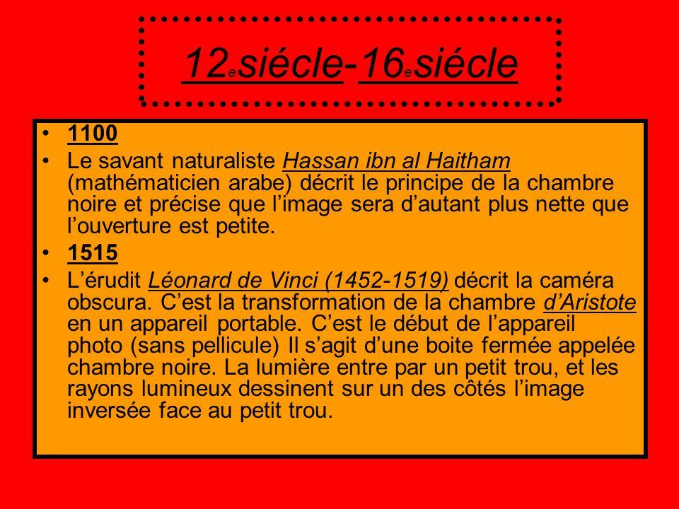 12 e siécle-16 e siécle 1100 Le savant naturaliste Hassan ibn al Haitham (mathématicien arabe) décrit le principe de la chambre noire et précise que l
