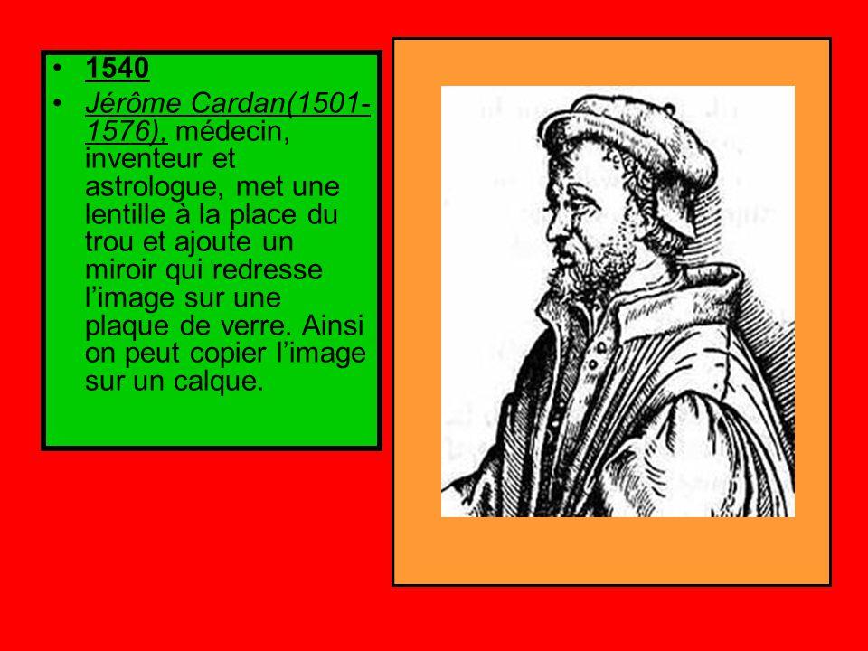 1540 Jérôme Cardan(1501- 1576), médecin, inventeur et astrologue, met une lentille à la place du trou et ajoute un miroir qui redresse l'image sur une