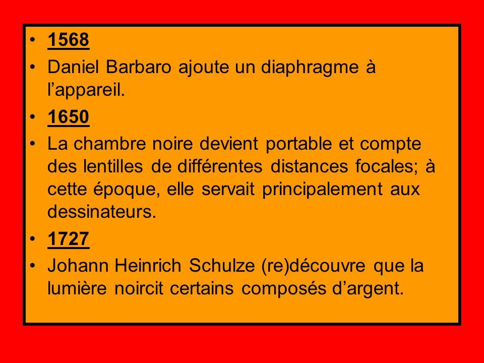 1568 Daniel Barbaro ajoute un diaphragme à l'appareil. 1650 La chambre noire devient portable et compte des lentilles de différentes distances focales