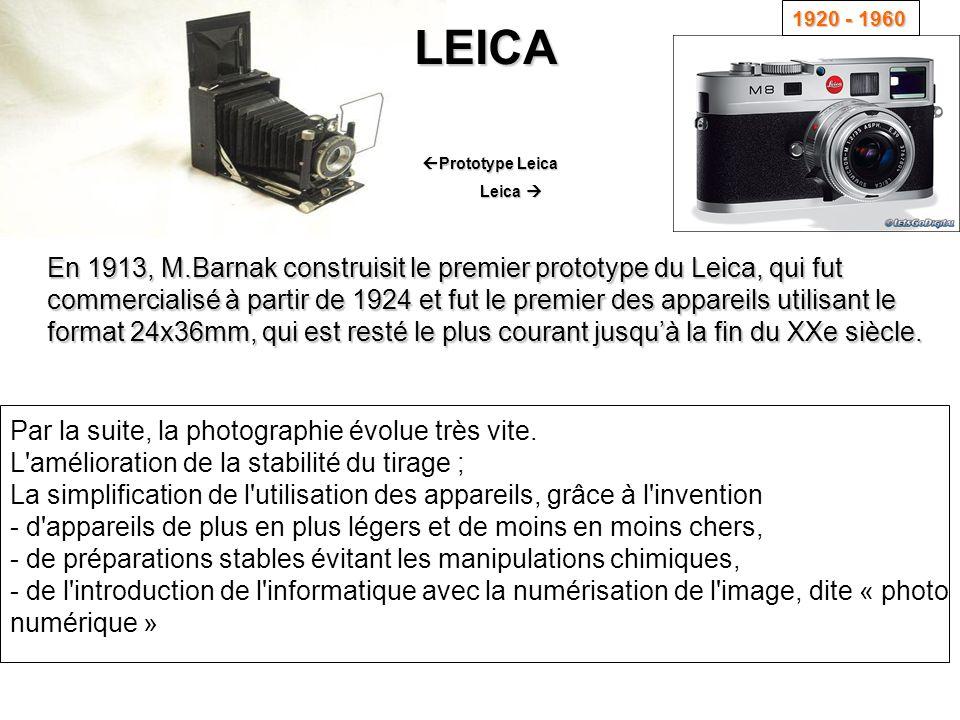 En 1913, M.Barnak construisit le premier prototype du Leica, qui fut commercialisé à partir de 1924 et fut le premier des appareils utilisant le forma