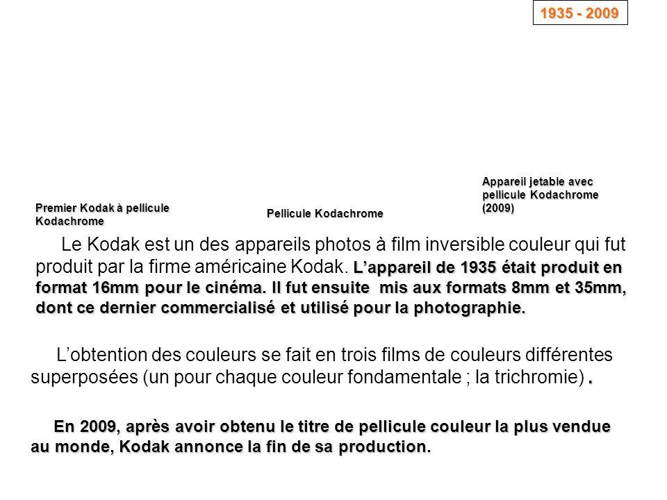 L'appareil de 1935 était produit en format 16mm pour le cinéma. Il fut ensuite mis aux formats 8mm et 35mm, dont ce dernier commercialisé et utilisé p