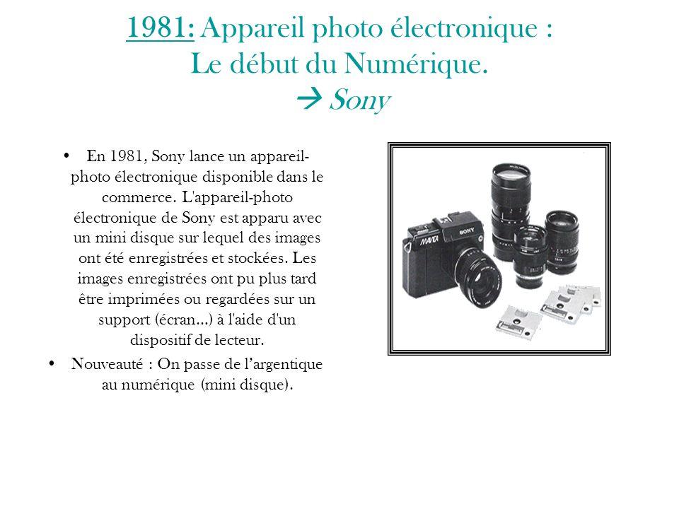 1981: Appareil photo électronique : Le début du Numérique.  Sony En 1981, Sony lance un appareil- photo électronique disponible dans le commerce. L'a