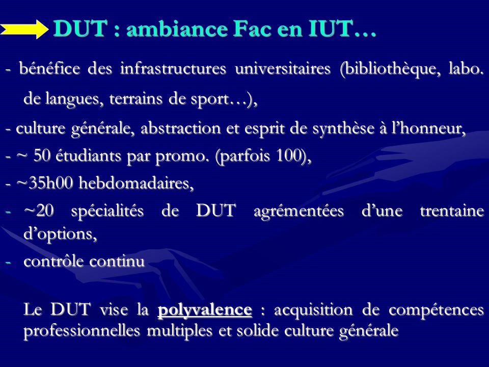 DUT : ambiance Fac en IUT… - bénéfice des infrastructures universitaires (bibliothèque, labo.