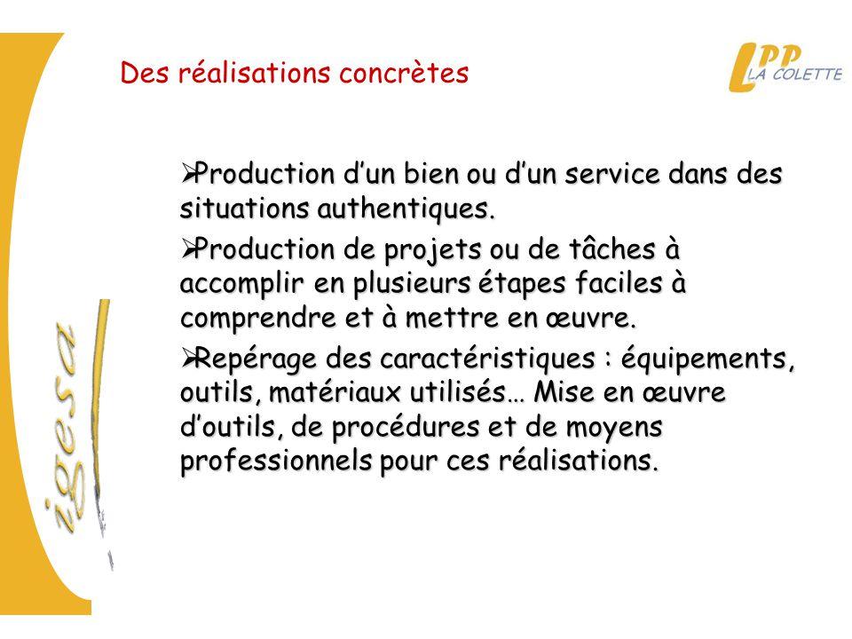 Des réalisations concrètes  Production d'un bien ou d'un service dans des situations authentiques.  Production de projets ou de tâches à accomplir e