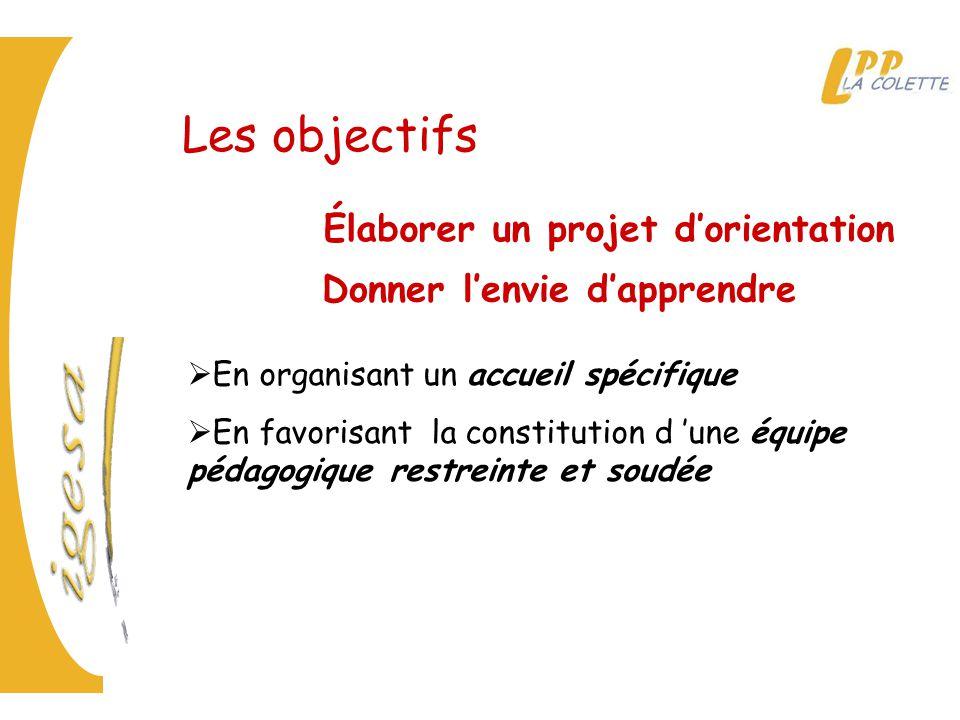 Les objectifs Élaborer un projet d'orientation Donner l'envie d'apprendre  En organisant un accueil spécifique  En favorisant la constitution d 'une