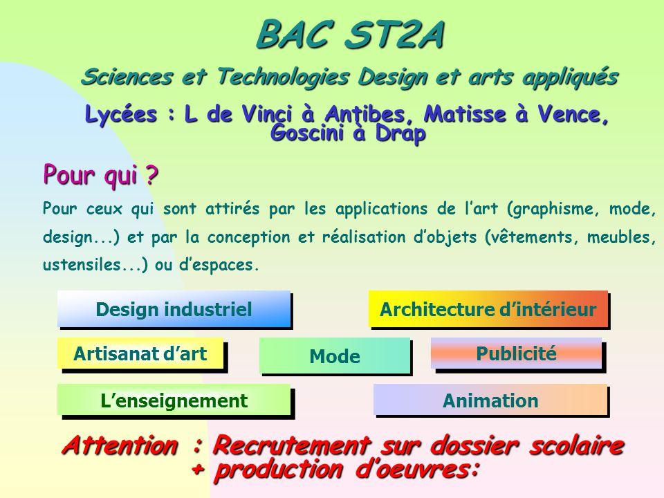 BAC ST2A Sciences et Technologies Design et arts appliqués Lycées : L de Vinci à Antibes, Matisse à Vence, Goscini à Drap Pour qui .