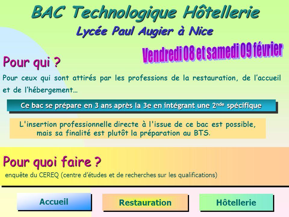 BAC Technologique Hôtellerie Lycée Paul Augier à Nice Accueil Hôtellerie Restauration Ce bac se prépare en 3 ans après la 3e en intégrant une 2 nde spécifique L insertion professionnelle directe à l issue de ce bac est possible, mais sa finalité est plutôt la préparation au BTS.