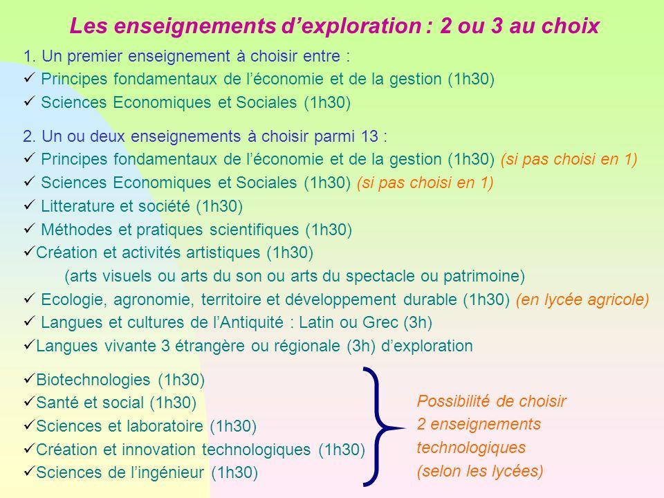 1. Un premier enseignement à choisir entre : Principes fondamentaux de l'économie et de la gestion (1h30)  Sciences Economiques et Sociales (1h30) 2.