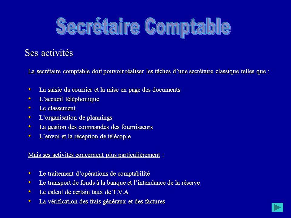 La secrétaire comptable doit pouvoir réaliser les tâches d'une secrétaire classique telles que : La saisie du courrier et la mise en page des document