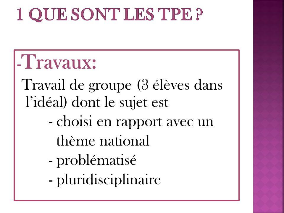 - Travaux: Travail de groupe (3 élèves dans l'idéal) dont le sujet est - choisi en rapport avec un thème national - problématisé - pluridisciplinaire