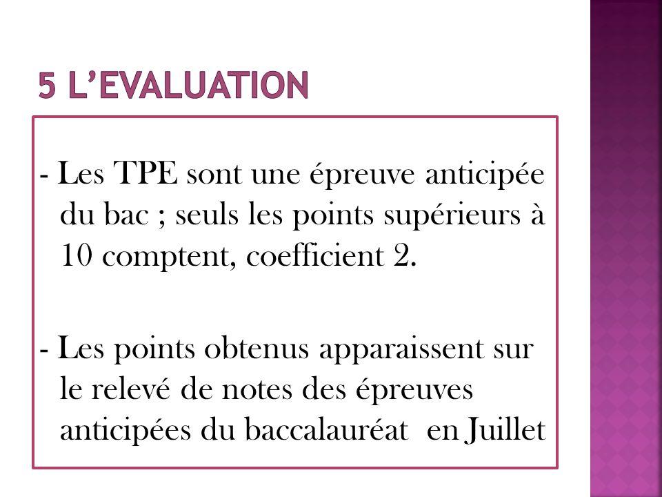 - Les TPE sont une épreuve anticipée du bac ; seuls les points supérieurs à 10 comptent, coefficient 2. - Les points obtenus apparaissent sur le relev