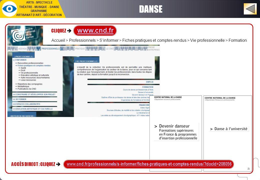 DANSE ARTS - SPECTACLE THÉATRE - MUSIQUE - DANSE GRAPHISME ARTISANAT D'ART - DÉCORATION www.cnd.fr CLIQUEZ  www.cnd.fr/professionnels/s-informer/fiches-pratiques-et-comptes-rendus/ docId=208056 ACCÈS DIRECT : CLIQUEZ  Accueil > Professionnels > S'informer > Fiches pratiques et comptes-rendus > Vie professionnelle > Formation