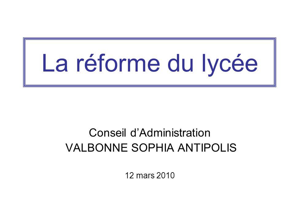 La réforme du lycée Conseil d'Administration VALBONNE SOPHIA ANTIPOLIS 12 mars 2010