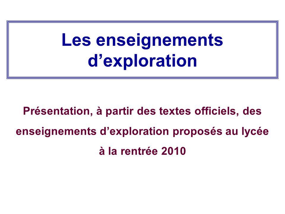 Les enseignements d'exploration Présentation, à partir des textes officiels, des enseignements d'exploration proposés au lycée à la rentrée 2010