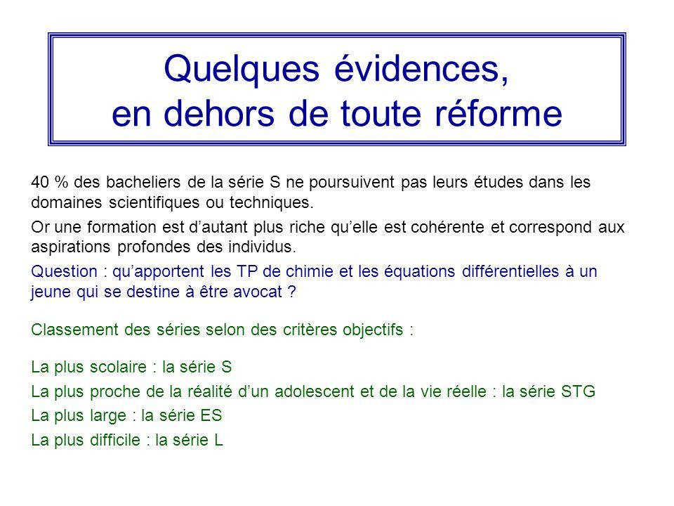 Quelques évidences, en dehors de toute réforme 40 % des bacheliers de la série S ne poursuivent pas leurs études dans les domaines scientifiques ou techniques.