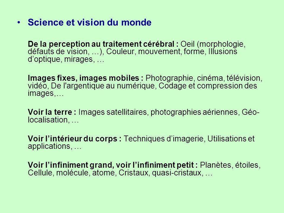 Science et vision du monde De la perception au traitement cérébral : Oeil (morphologie, défauts de vision, …), Couleur, mouvement, forme, Illusions d'