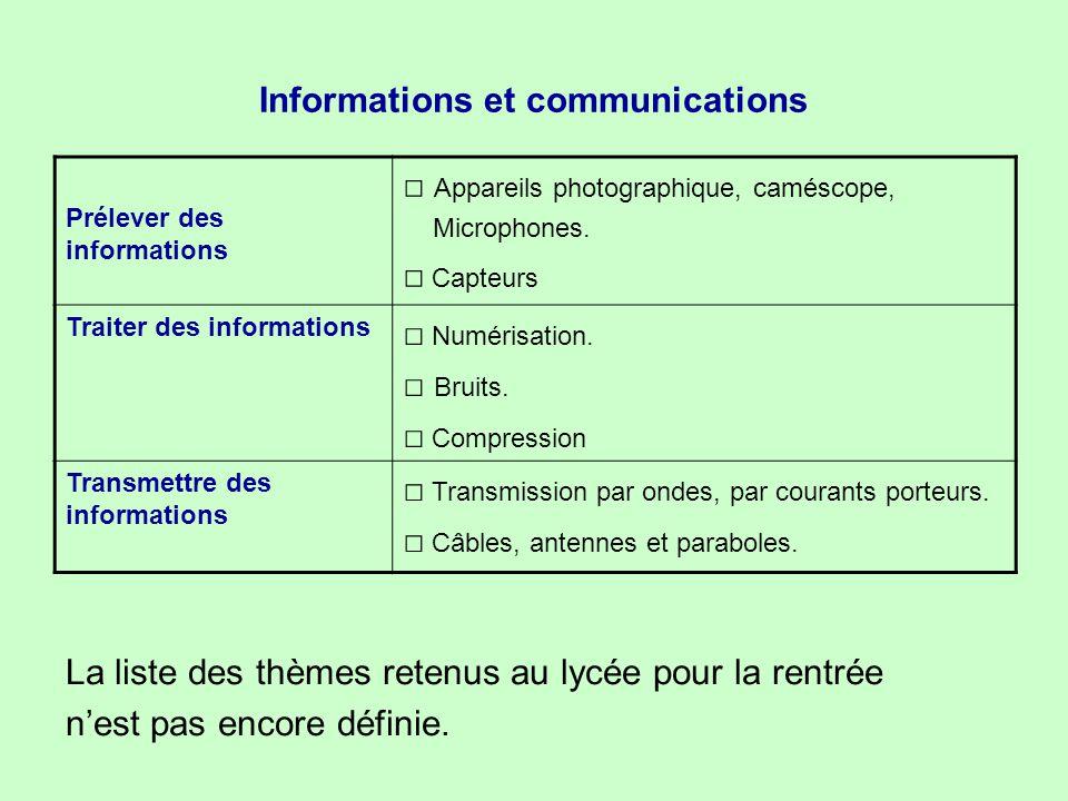 Informations et communications Prélever des informations □ Appareils photographique, caméscope, Microphones. □ Capteurs Traiter des informations □ Num