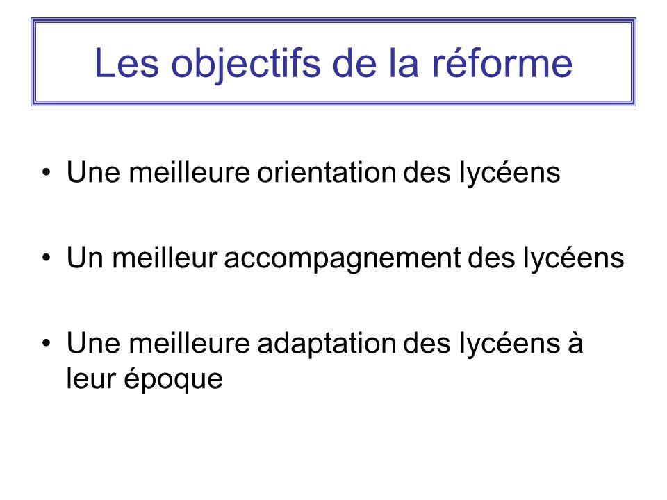Les objectifs de la réforme Une meilleure orientation des lycéens Un meilleur accompagnement des lycéens Une meilleure adaptation des lycéens à leur é