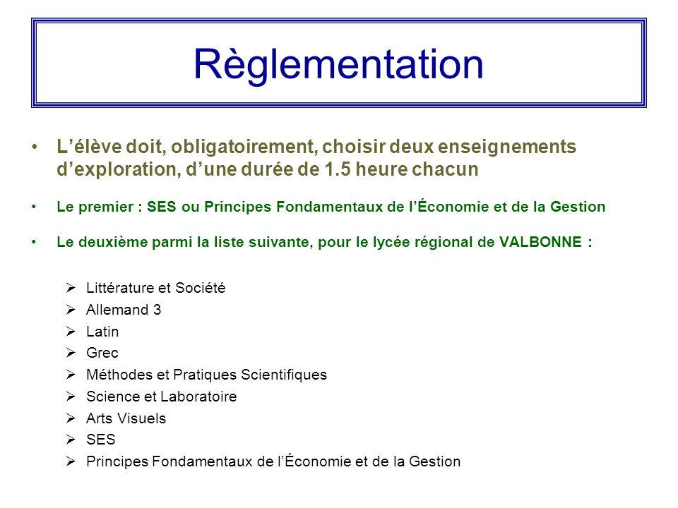 Règlementation L'élève doit, obligatoirement, choisir deux enseignements d'exploration, d'une durée de 1.5 heure chacun Le premier : SES ou Principes