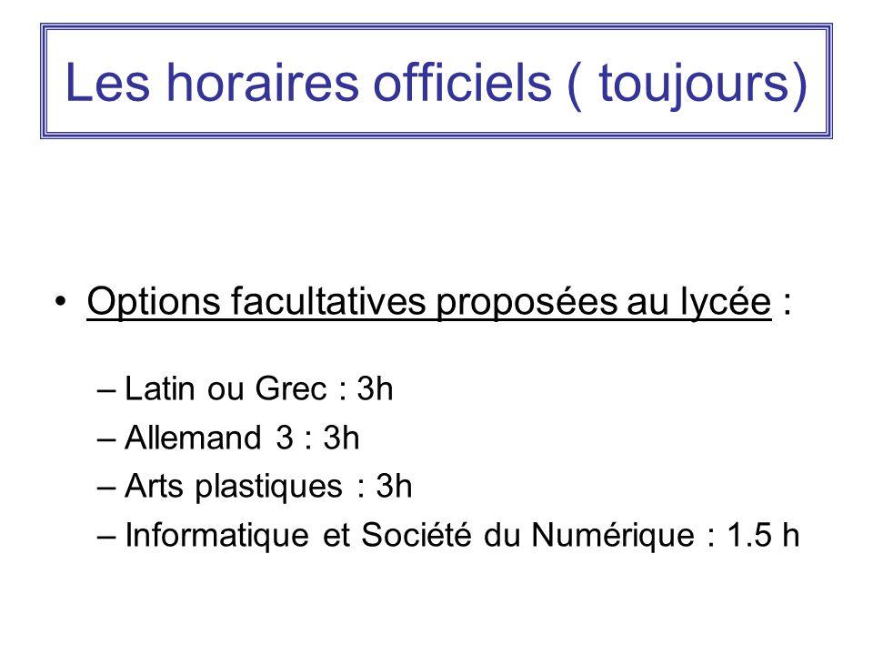 Les horaires officiels ( toujours) Options facultatives proposées au lycée : –Latin ou Grec : 3h –Allemand 3 : 3h –Arts plastiques : 3h –Informatique et Société du Numérique : 1.5 h
