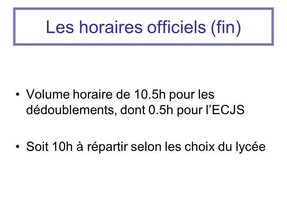 Les horaires officiels (fin) Volume horaire de 10.5h pour les dédoublements, dont 0.5h pour l'ECJS Soit 10h à répartir selon les choix du lycée