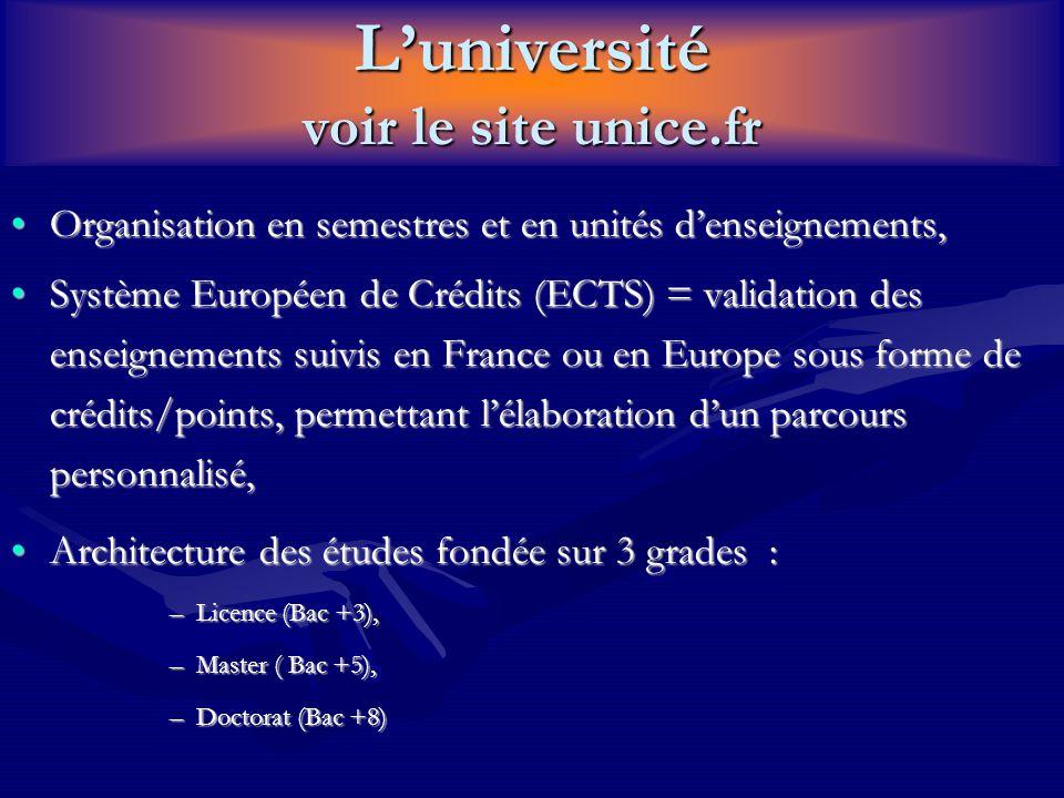 L'université voir le site unice.fr Organisation en semestres et en unités d'enseignements,Organisation en semestres et en unités d'enseignements, Syst