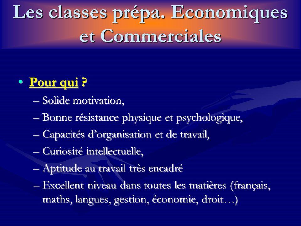 Les classes prépa. Economiques et Commerciales Pour qui ?Pour qui ? –Solide motivation, –Bonne résistance physique et psychologique, –Capacités d'orga