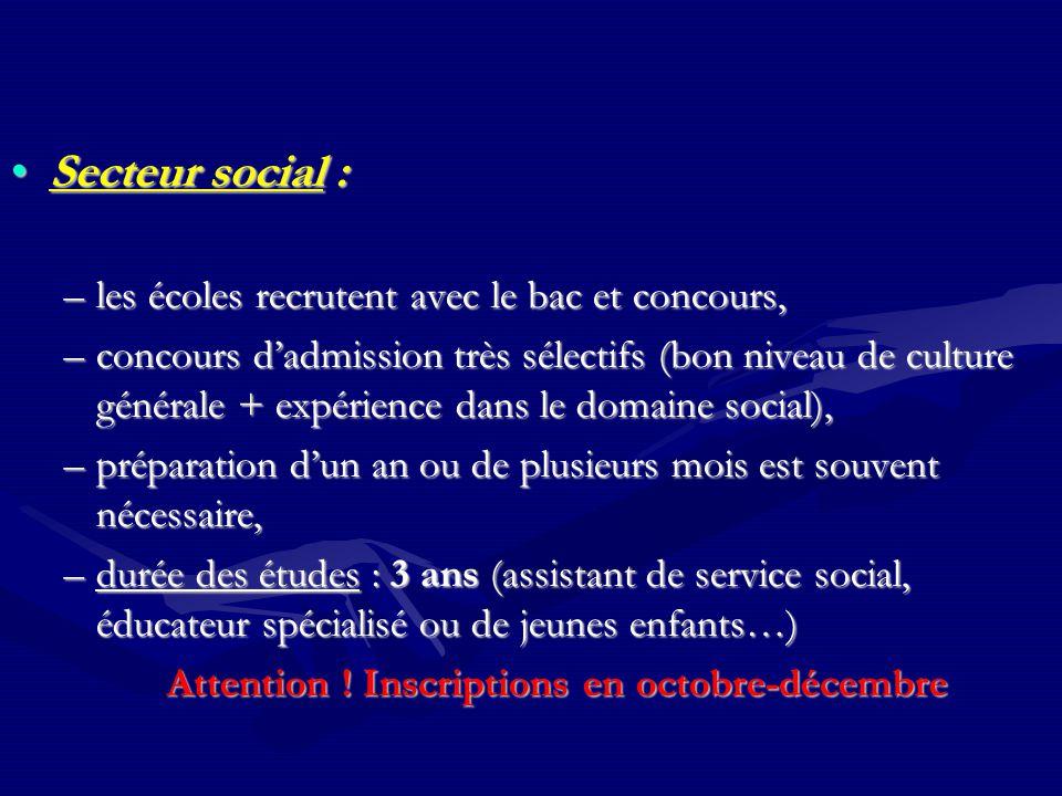 Secteur social :Secteur social : –les écoles recrutent avec le bac et concours, –concours d'admission très sélectifs (bon niveau de culture générale +