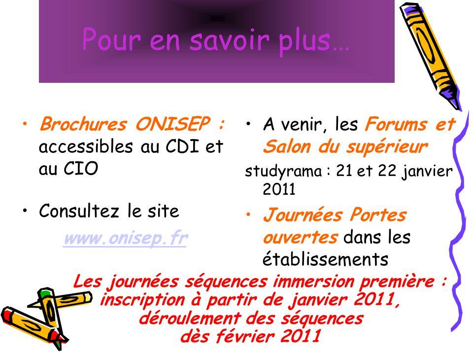 Pour en savoir plus… Brochures ONISEP : accessibles au CDI et au CIO Consultez le site www.onisep.fr A venir, les Forums et Salon du supérieur studyra
