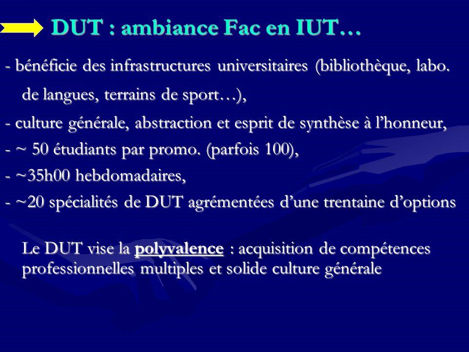 DUT : ambiance Fac en IUT… - bénéficie des infrastructures universitaires (bibliothèque, labo. de langues, terrains de sport…), - culture générale, ab