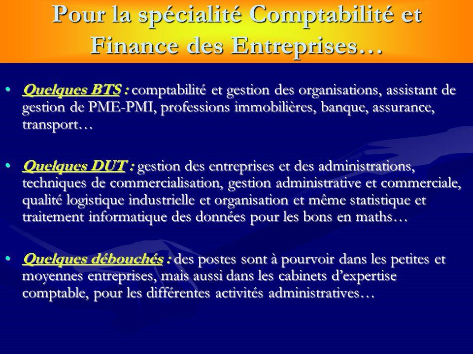 Pour la spécialité Comptabilité et Finance des Entreprises… Quelques BTS : comptabilité et gestion des organisations, assistant de gestion de PME-PMI,